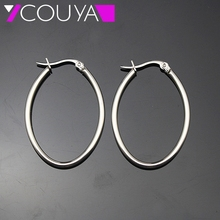 Stainless steel jewelry silver color thin oval hoop earrings for Women Surgical steel material healthy and Anti Allergic