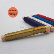 0.5mm 24 gauge Red Blue Silver Gold Colored Rustless Iron Wire for Jewelry Crafts Soft Anodized 50 meters Wire Coil Components(China)