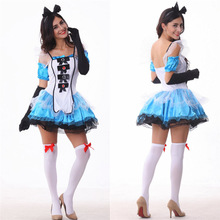 Woman's Blue Princess Alice in Wonderland Costume Cosplay Halloween Party Carnival Girls Female Costumes  DS Clubwear M L XL