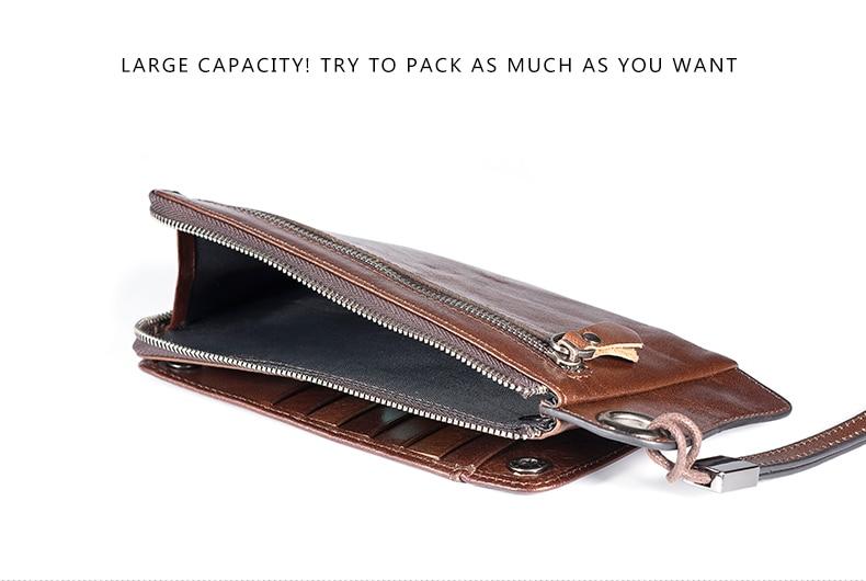 LUENSRO Wallet Leather Vintage Wallets Men Genuine Leather Wallet Zipper Card Holder Purse Long Coin Purse Money For iPhone7S (3)