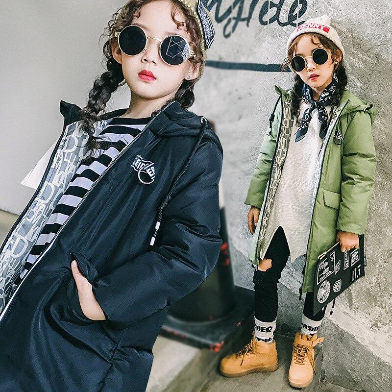 Girl long Korean tide thick warm down jacket winter for size 6 7 8 9 10 11 12 13 14 years child new black blue green outerwearÎäåæäà è àêñåññóàðû<br><br>