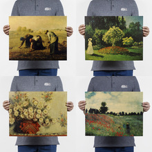 Claude Monet/van Gogh/ famous Oil Painting/kraft paper/bar poster/Retro Poster/decorative painting 47x36cm(China)