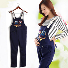 Maternity Clothing Pants Spring Autumn cartoon owl cotton Plus Size Overalls Pregnant Women`s Large Size Suspender Trousers(China)