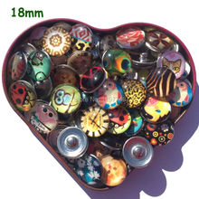 20pcs 18mm Various Photo Assorted Round Cartoon Pattern Glass Dome Photo Picture Image Cabochon Snap Button For DIY Designs