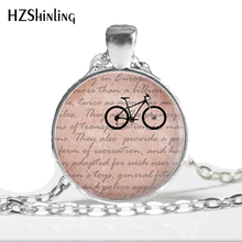 2017 New Fashion Cycling Necklace Ride Bicycle Pendant Jewelry Glass Photo Cabochon I Love my bike Necklaces for women(China)