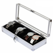 2017 Aluminum Alloy PU 6-Grid Jewelry Watches Storage Box Watch Display Storage Box High Quality High Quality EG443