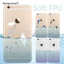2016 NEW Popular Marine Animals Transparent Blue Dolphins Penguins Polar Bears Case Cover for iphone 5 5s 6 6s 6plus 7 7plus