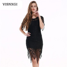 Summer Hollow Female Sexy Elegant Lace Dress One Piece Sexy Rearless Slim Pantyhose Black Stitching Party Knee-Length Dress S322(China)