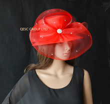 2017 NEW colour BIG Red Formal Dress Hat Kentucky Derby HAT FOR Church. FREE SHIPPING