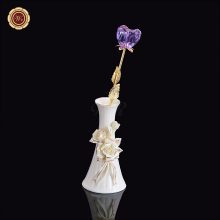 Gold Plated with Vase Base Crystal Flower Perfect For Valentine's Day Light Purple Crystal Rose Flower Artificial Rose