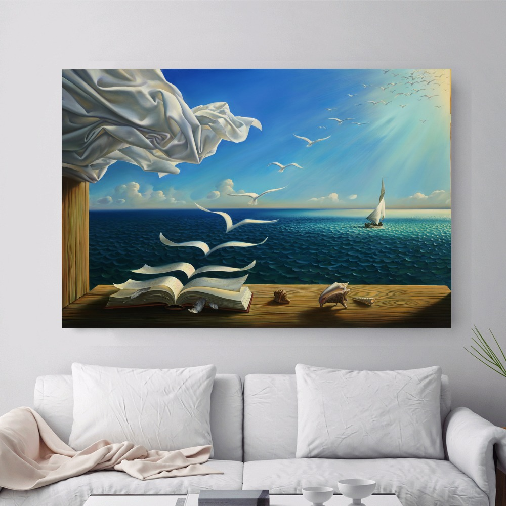 Surreal-City-Chess-Beach-Set-Canvas-Art-Print-Painting-Poster-Wall-Pictures-For-Living-Room-Home (2)