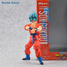 New Anime Fukkatsu No F Super Saiyan God SS Gokou Goku Action Figure S.H.Figuarts (SHF) Dragon Ball Z Toy 16cm Box