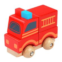 Baby Soft Montessori Wooden Toy Cute Mini Fire Truck Vehicle Blocks Toy Disassembly Car Model Baby Kids Early Educational Toys(China)
