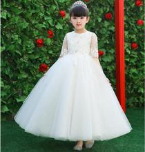 Glizt Sequin Flower Girl Dress For Wedding Pageant Prom Party White Dress Baby Kids Clothes Toddler First Communion Dresses