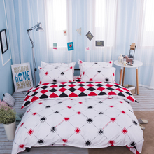 plaid poker bedding bed sets queen king twin 4/5pc kids red and black rhombus comforter quilt duvet cover bedroom decor