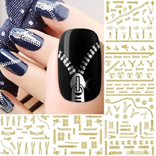 12 sheets beauty zipper design 3d nail art decorations stickers decals manicure tools gold silver black white