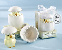 "10 Set ""About to Hatch"" Baby Chick Salt and Pepper Shakers Cheap Wedding Favors"