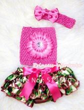 Camouflage Patterns Layer Panties Bloomers with Hot Light Pink Flower Hot Pink Crochet Tube Top and Bow Headband 3PC Set MACT261
