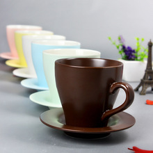 Matte 6 Candy Color Coffee Cup Solid Color Ceramic Cups Simple Mugs With Tray
