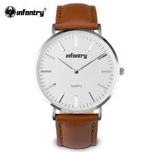 INFANTRY Mens Watches Fashion Luxury Brand Ultra Slim Lovers' Quartz Watch Business Men Watches Leather Relogio Masculino 2017(Hong Kong)