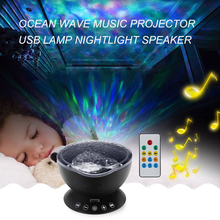 Ocean Wave Music Projector LED Night Light Soothing Novelty Lamp USB Lamp Nightlight Speaker and Remote control for Nursery Room