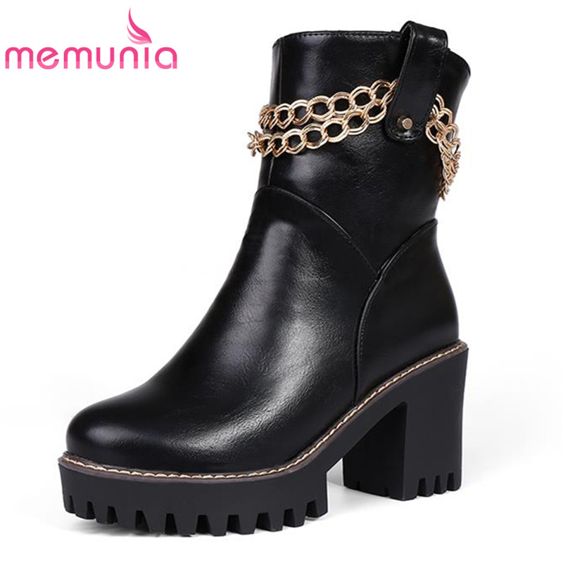 Metal Decorative chains solid classic platform women boots spring autumn popular pointed toe big size ankle boots for ladies<br><br>Aliexpress