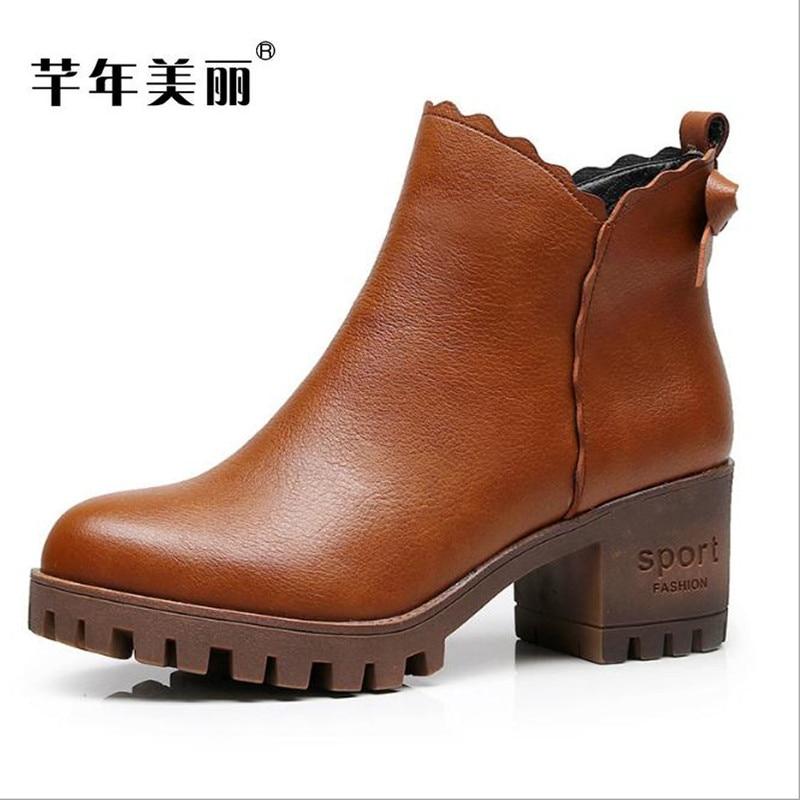 2018 new women boots Fashion big code 41 43 Frosted leather rivet Female martin short boots damski boty bota Free shipping  <br>