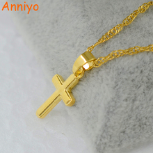 Anniyo Small cross pendant necklace women girl,mini charm pendant gold color jewelry crucifix Christian Ornaments #051002(China)