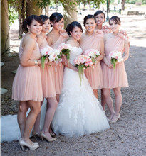 Pastel Pink One Shoulder Chiffon Knee Length Bridesmaid Dress With Flower Strap Hot Sell Custom Made