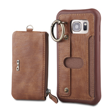 For iPhone 7 Case Detachable PU Leather Flip Wallet Purse Case For iPhone 7 Plus Multifunction Pouch Handbag Ring Grip Cover