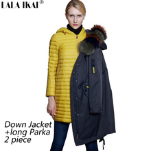 2017 LALA IKAI Brand New Women Winter Parka Plus Down Jacket 2 Pcs Coat with Faux Fur Hood Multi Zipper Pockets SWA0472-45(China)