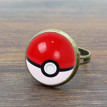 Pokemon Inspired Vintage Ring Art Glass Dome Cabochon Pikachu Pokeball Antique Bronze Copper Rings for Women Girl Adjustable