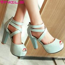 VINLLE Woman Pumps Summer Sexy Women Platform Shoes Thick High Heel Ankle Strap Peep Toe Zipper Ladies Wedding Shoes Size 42 43