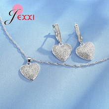 JEXXI Woman's Birthday Gift Wedding Jewelry Set Fashion Heart Crystal Necklace And Earrings Set 925 Sterling silver Jewelry Set(China)