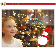 9801& New Yew is coming happy new year snowman Christmas wall decoration wall stickers home decor waterproofing wall stickers