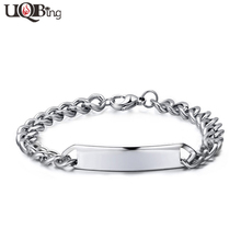 New Fashion Stainless Steel Bend Charm Bracelets For Men Jewelry Can Be Engraved Name ID Bracelets