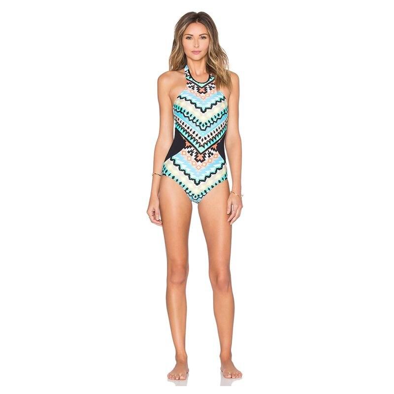 2017 One Pieces Swimsuit Biquines Beach Retro Leaf Print  High-waisted Bikini High Rise Conservative Seafolly Halter Bikini<br><br>Aliexpress