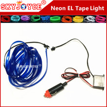 10 colored tape EL tape 1M-5M 12V Neon EL light Tape wire Blue Reflective car Tape styling purple red amber flexible led strip