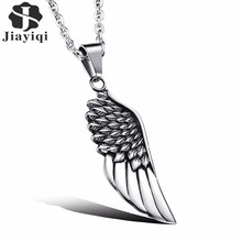Jiayiqi Fashion Mens Necklaces Stainless Steel Vintage Gothic Feather Angel Wing Pendants Silver Plated Male Jewelry Accessories