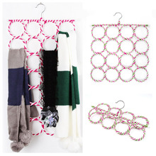 2015 Multi-function Scarf Shawl Scarf Belt Tie Hanger Holder Organizer Storage 16 Ring Rope Slots hangers(China)