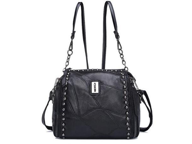 Sheepskin womens messenger bag  one shoulder cross-body rivet bucket bag genuine leather black color factory price<br><br>Aliexpress