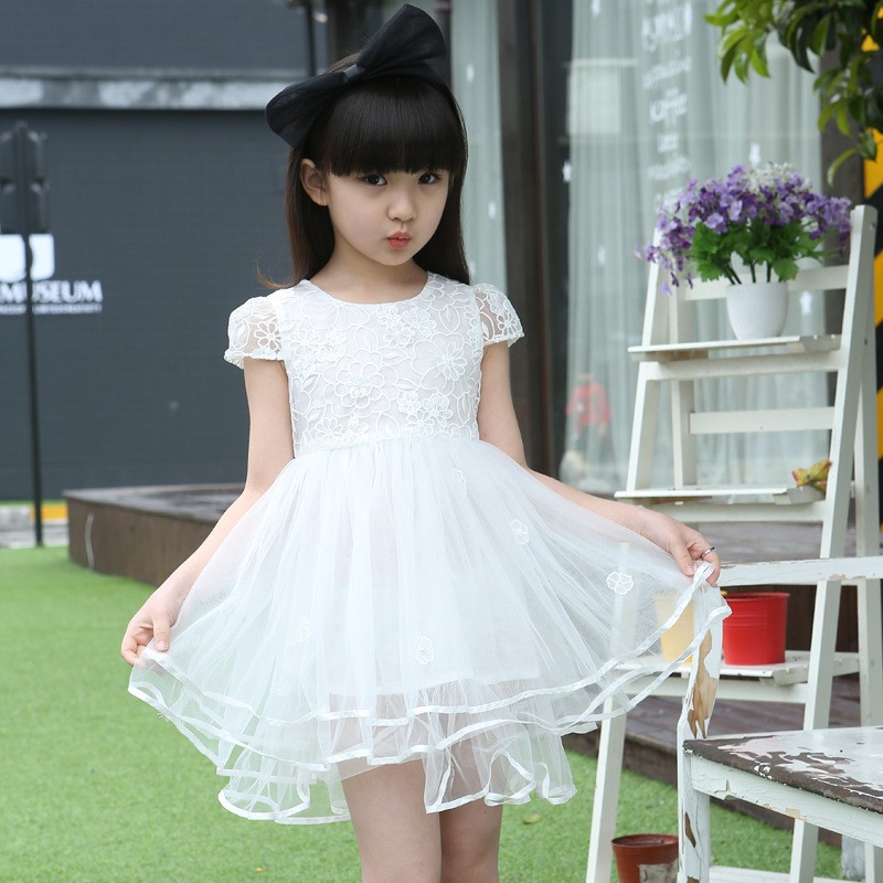 Girl Dress Summer Korean New Pattern Child Manual Book Flowers Princess Children Thick And Disorderly Dress Kids Clothing Mesh<br>