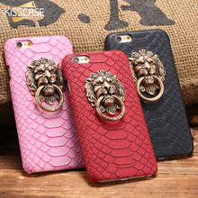 KISSCASE Case For Apple iPhone 6 6S Plus 5 5S SE Luxury Lion Head Metal Ring Holder Back Cover Hard PC Snake Pattern Fundas Capa