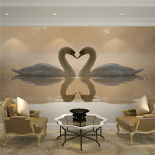 Living room bedroom TV backdrop wallpaper 3d stereoscopic large mural wall covering creative personality Continental Swan