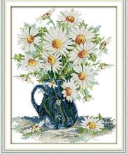 Daisy vase flowers home Decor diy painting Pot counted print on canvas DMC Set 11CT 14CT needlework embroidery Cross Stitch kits(China)