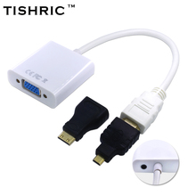 TISHRIC Mini+Micro Connector For HDMI to VGA With Audio Adapter Male to Female Converter 1080P For HDMI2VGA Adaptor For PC/Lap