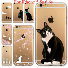 Soft sillicon Super slim Cute Cat Rabbit back case Soft TPU clear phone case cover For Apple iPhone  5 5s 6 6s