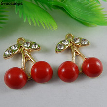 (6pieces)GraceAngie Alloy Red Fruit Cherry Charms Pendant Jewely DIY Handmade Crafts Cute Bracelet Hair Clip Accessories Gifts(China)