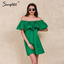 Simplee Apparel Ruffles slash neck women dress Summer style off shoulder sexy dresses vestidos White tube beach dress cotton(China)