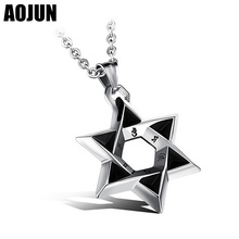 AOJUN Cute Star Of David Pendant Necklace Male Stainless Steel Chain Punk Hanukkah Pendant Men For Israel Judaica Hebrew Jewelry